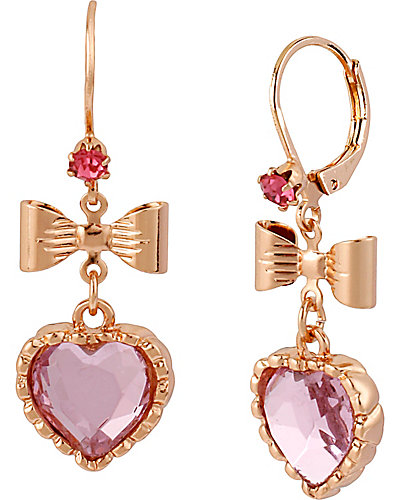ROSE GOLD HEART BOW DROP EARRING PINK