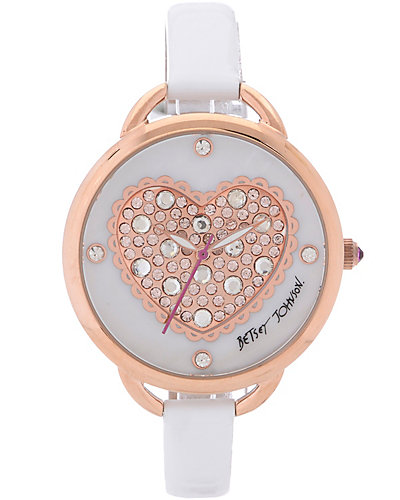 ROSE GOLD PUFFY HEART DIAL WHITE