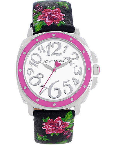 ROSE PRINTED STRAP WATCH BLACK