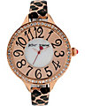 ROUND FACE SKINNY BAND WATCH LEOPARD