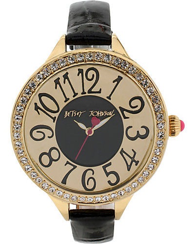 ROUND FACE SKINNY BLACK BAND WATCH BLACK