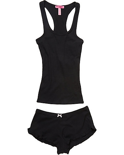 RUFFLE RIB KNIT SHORT SET BLACK