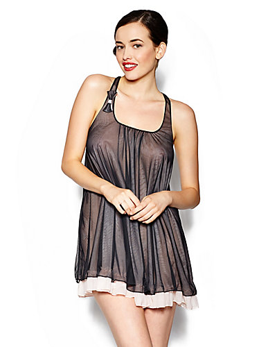 SASSY DOUBLE LAYER TRICOT SLIP BLACK