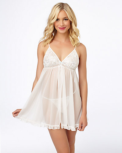 SEQUIN LACE AND TRICOT BABYDOLL WHITE