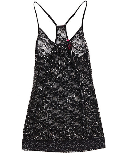 SEQUIN LACE TUNIC CHEMISE BLACK