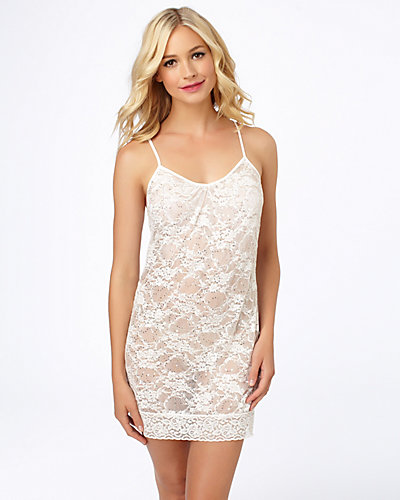 SEQUIN LACE TUNIC CHEMISE WHITE