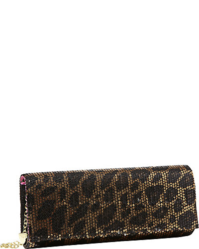 SEQUIN LEOPARD CLUTCH BRONZE