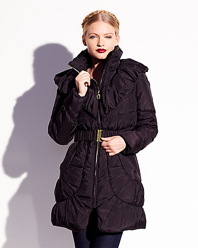 SHAWL COLLAR DETAIL ANGEL DOWN COAT BLACK