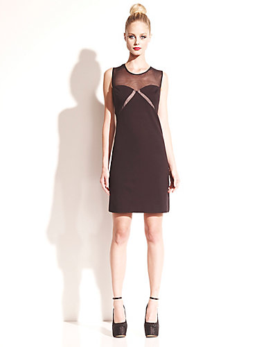SHEATH DRESS WITH SHEER NECK BLACK