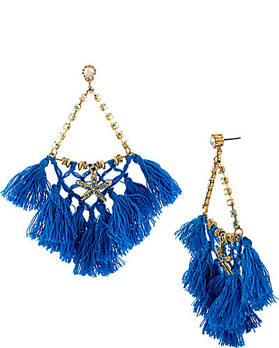 SHELL SHOCKED BLUE NET TASSLE EARRING BLUE
