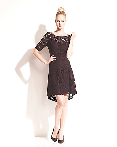 SHORT SLEEVE LACE DRESS BLACK