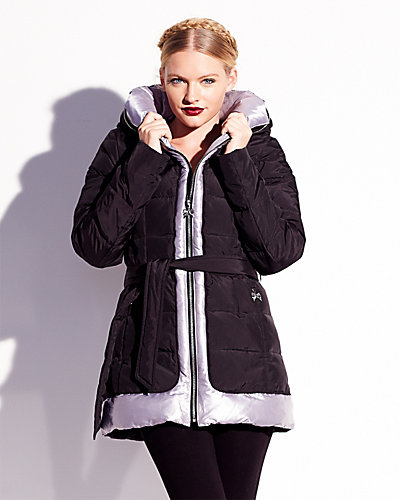 SILVER TRIM BETSEY ANGEL DOWN COAT BLACK