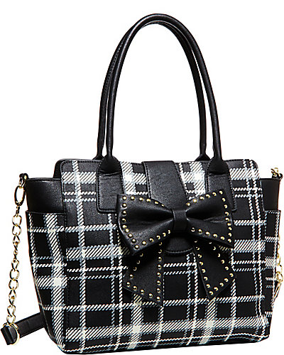 SINCERELY YOURS BOW TOTE BLACK-WHITE