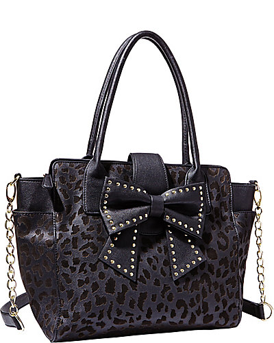 SINCERELY YOURS BOW TOTE LEOPARD