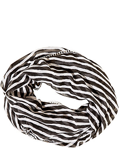 SKETCHY STRIPE CHAIN EDGE INFINITY SCARF WHITE