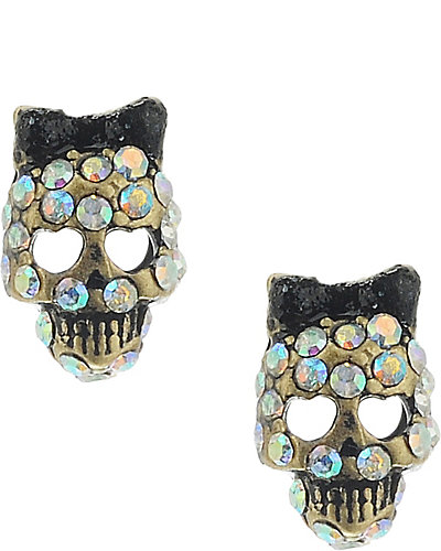 SKULL STUD EARRING BLACK