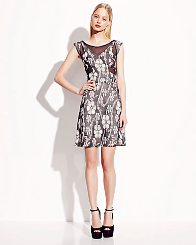 SLEEVELESS DRESS WITH SHEER INSETS BLACK-WHITE