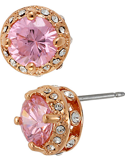 SMALL ENCRUSTED STUD EARRING PINK