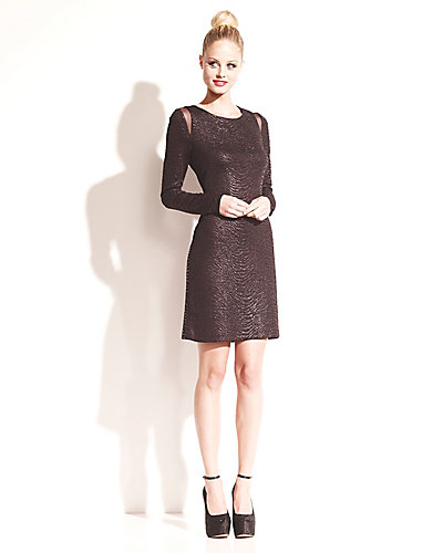 SOLID BLACK LONG SLEEVE SHIFT DRESS BLACK