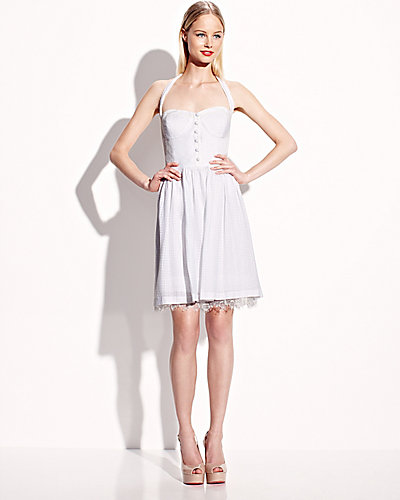SOLID SWEETHEART NECK DRESS WHITE