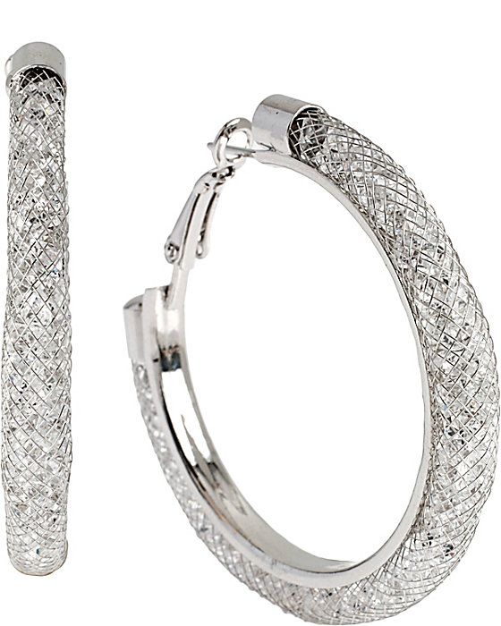 Upc 889295018965 Product Image For Sparkle Link Hoop Earrings Silver Upcitemdb