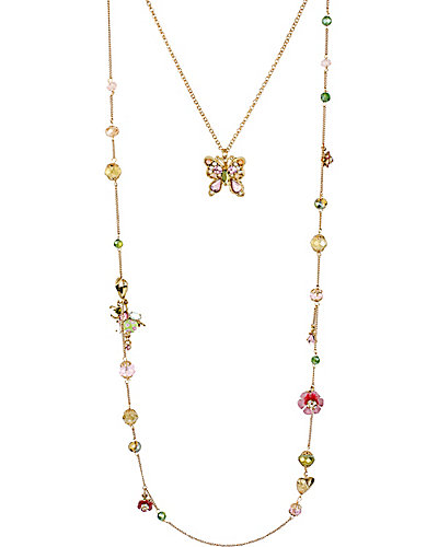 SPRING GLAM LONG TWO ROW NECKLACE MULTI