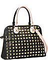 SPRING STUD DOME SATCHEL BLACK PINK