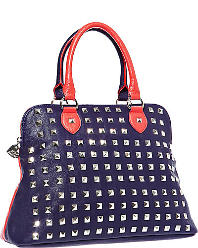 SPRING STUD DOME SATCHEL RED