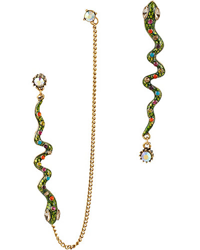ST BARTS GREEN SNAKE DROP EARRING GREEN