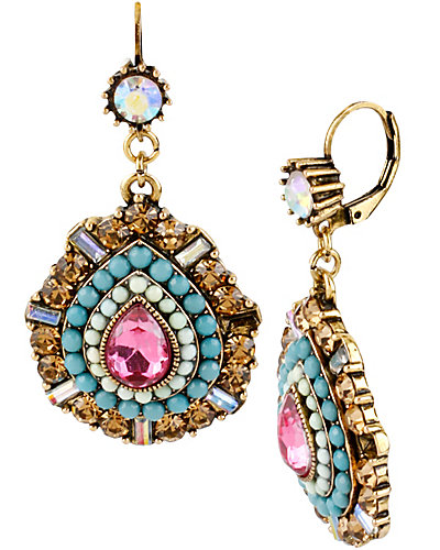 ST BARTS MULTI STONE DROP EARRING MULTI