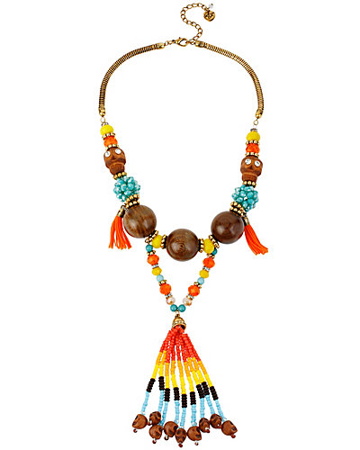 ST BARTS MULTI WOOD BEAD NECKLACE MULTI