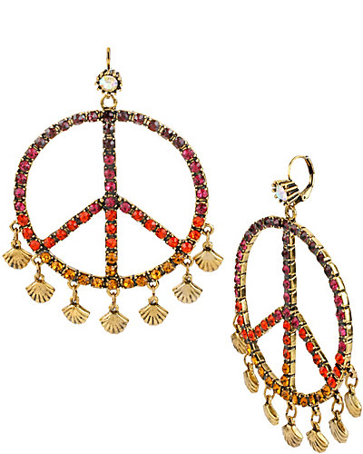 ST BARTS PEACE GYPSY HOOP EARRING MULTI