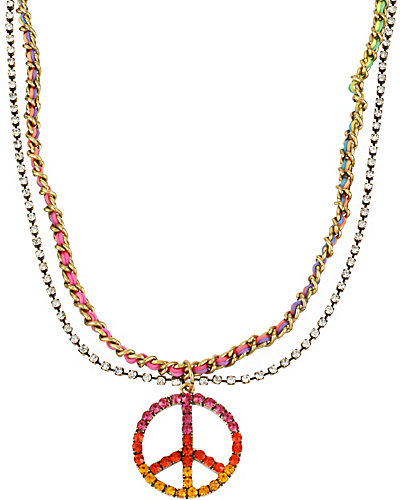 ST BARTS SMALL PEACE SIGN NECKLACE MULTI