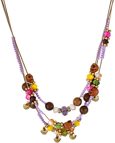 ST BARTS WOOD BEAD ILLUSION PURPLE MULTI