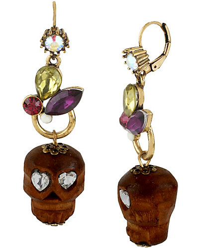 ST BARTS WOOD SKULL DROP EARRING MULTI
