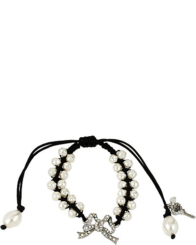 STONE PEARL BOW FRIENDSHIP BRACELET CRYSTAL