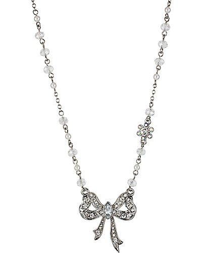 STONE PEARL BOW NECKLACE CRYSTAL