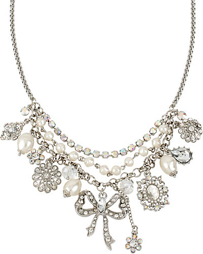 STONE PEARL BOW SHAKY NECKLACE CRYSTAL