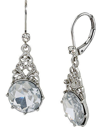 STONE PEARL CIRCLE DROP EARRING CRYSTAL