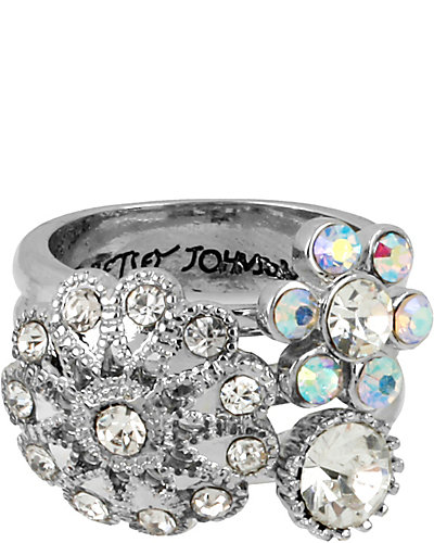 STONE PEARL FLOWER CLUSTER RING CRYSTAL