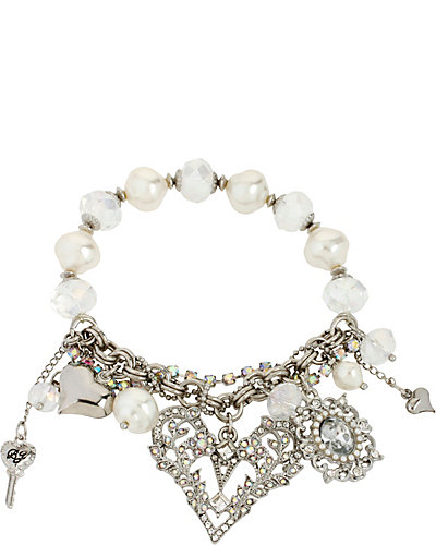 STONE PEARL HEART STRETCH BRACELET CRYSTAL