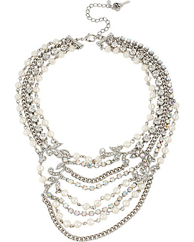 STONE PEARL MULTI ROW NECKLACE PEARL