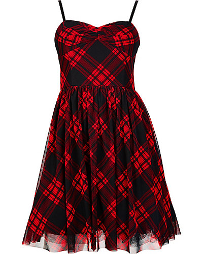STRAPLESS PLAID PARTY DRESS BLACK RED