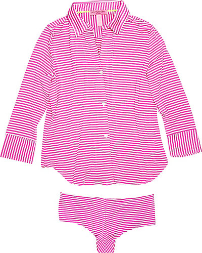 STRIPE RAYON KNIT HIPSTER SET PINK