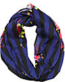 STRIPE ROSE INFINITY SCARF NAVY