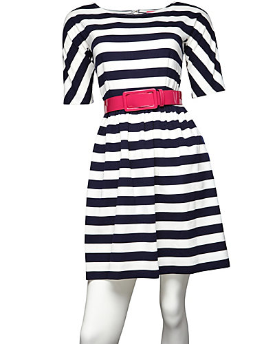 STRIPED AND BELTED DRESS NAVY WHITE