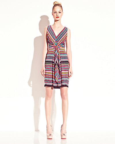 STRIPED DRAPE FRONT DRESS MULTI