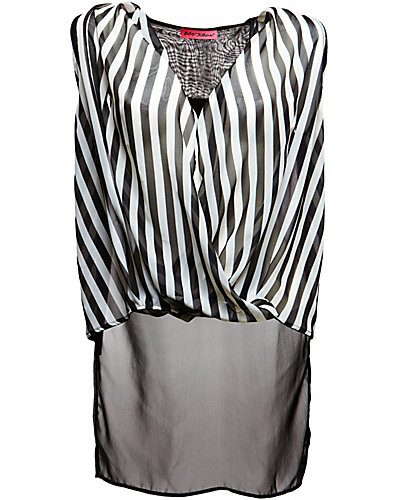 STRIPED DRAPE TOP WITH SHEER BACK BLACK WHITE