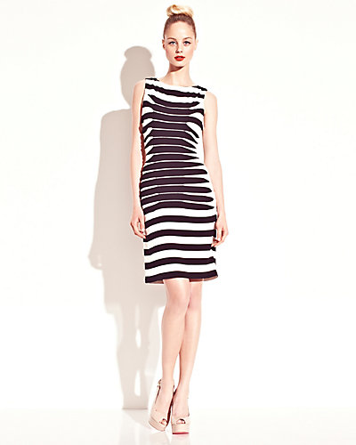 STRIPED DRESS BLACK-WHITE