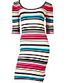 STRIPED 3/4 SLEEVE FITTED DRESS MULTI